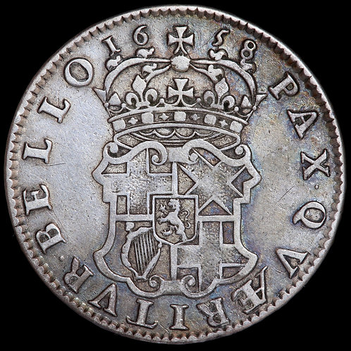 Oliver Cromwell, Lord Protector 1653-58. Halfcrown, 1658. HIB Type Legend.
