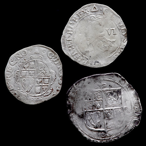 Charles I, 1625-49. Shilling And Sixpences. (3 Coins)