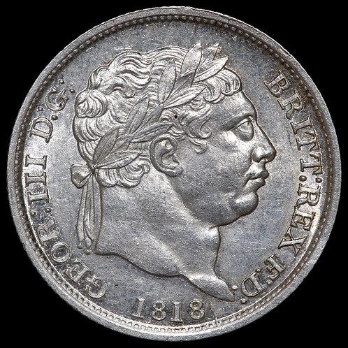 George III, 1760-1820. Shilling, 1818. High 8 In Date. Rare.