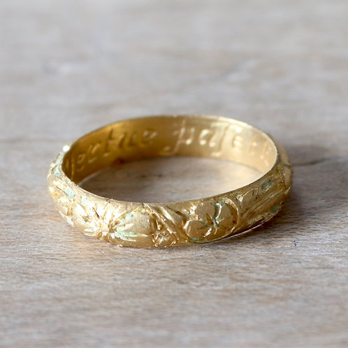 George II Gold Posy Ring, c.1740. With Engraved Motto.