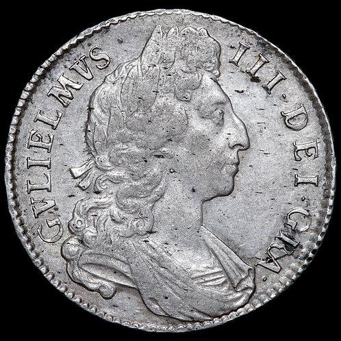 William III, 1694-1702. Halfcrown, 1696. OCTAVO Edge. Early Harp.