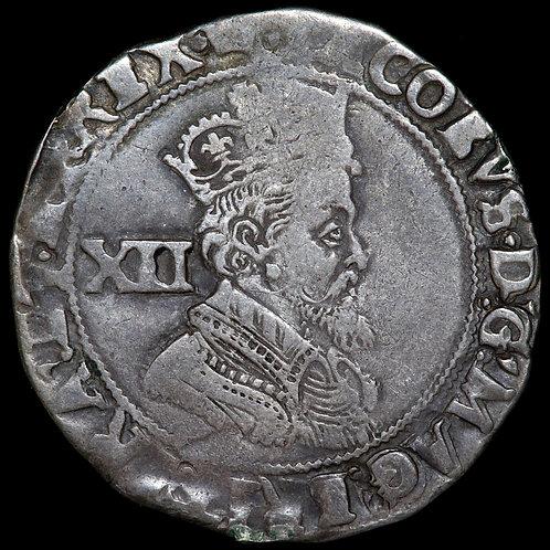 James I, 1603-25. Shilling, mm. Coronet, 1607-9. Fifth Bust. Scarce.