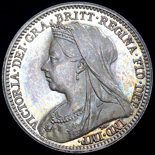 Victoria, 1837-1901. Proof Silver Threepence, 1893. Mintage Of 1,312.