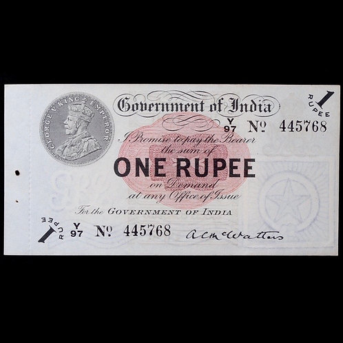British India. George V, One Rupee Banknote, 1917. With Perforation. McWatters.
