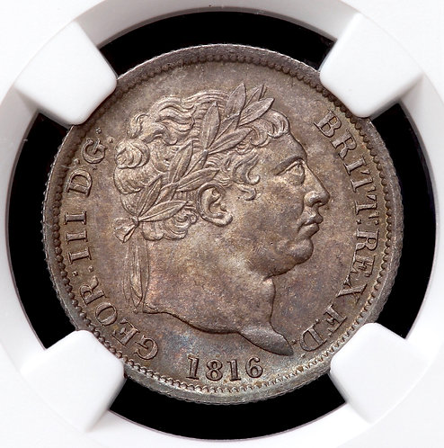 George III, 1760-1820. Shilling, 1816. NGC Encapsulated And Graded MS63.