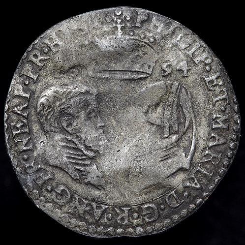Philip Of Spain And Mary Tudor, 1554-58. Sixpence, 1554. Scarce.