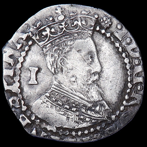 James I, 1603-25. Penny, mm. Thistle, 1603-4. 1st Coinage, 2nd Armoured Bust.