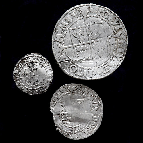 Elizabeth I, 1558-1603. Shilling, Groat And Threehalfpence. (3 Coins)