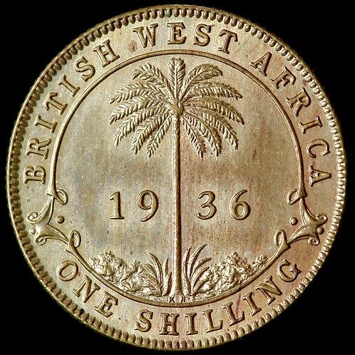 British West Africa. George V, 1911-36. Specimen Brass Shilling, 1936 KN. Rare.