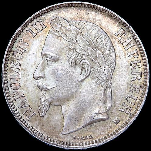 France. Napoleon III, 5 Francs, 1868. Strasbourg Mint.