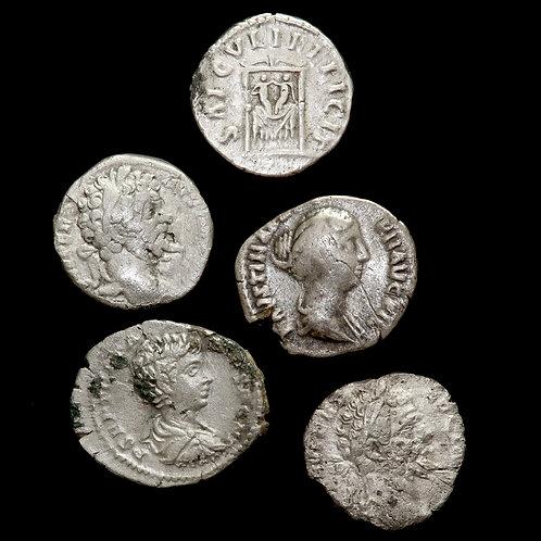 Roman Empire. AR Denarius. (5 Coins)