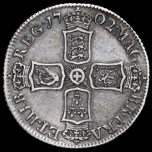 Anne, 1702-14. Shilling, 1702. First Bust.