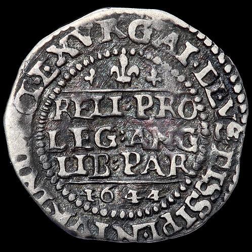 Charles I, 1625-49. Threepence, 1644, mm. Lis. Declaration Type. Oxford Mint.