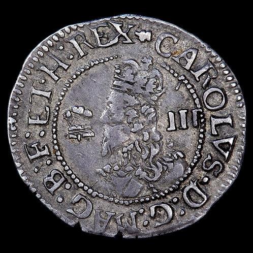 Charles I, 1625-49. Threepence, mm. Book, 1638-42. Aberystwyth Mint.