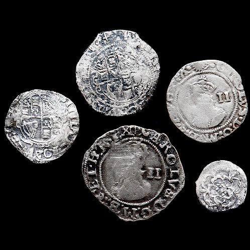 Charles I, 1625-49. Halfgroats, Pennies And Halfpenny. (5 Coins)