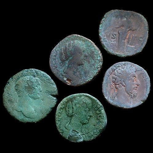Roman Empire. Sestertius. Trajan, Lucilla, Commodus, Antoninus Pius. (5 Coins)