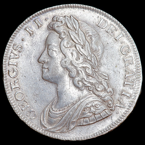 George II, 1727-60. Halfcrown, 1732. SEXTO Edge. Roses And Plumes In Angles.