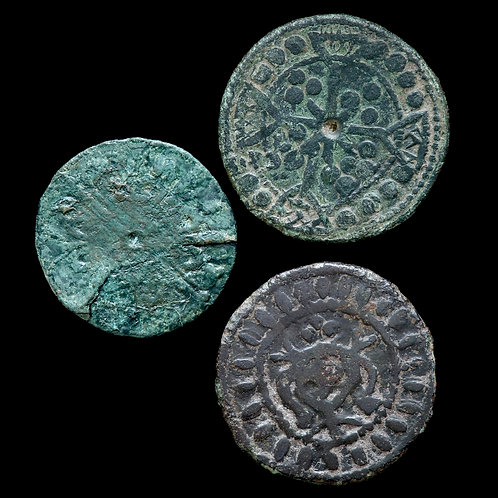 English Medieval Copper-Alloy Jettons, 13th-14th Century. (3 Coins)