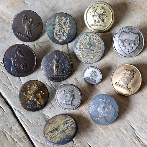 Georgian And Victorian Livery Buttons, 18th-19th Century.