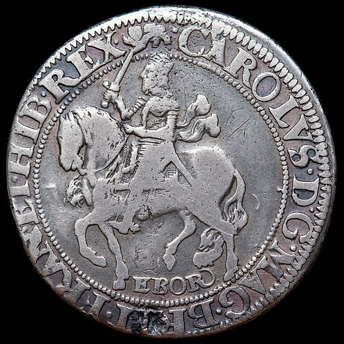 Charles I, 1625-49. Halfcrown, York mint. Group 2, type 7. Mint mark Lion.
