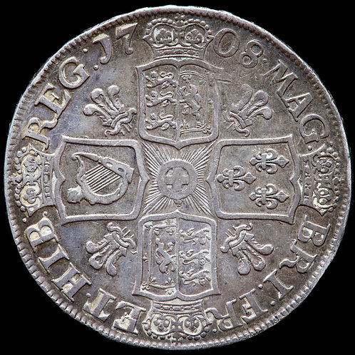 Anne, 1702-14. Crown, 1708. SEPTIMO Edge. Rev: Plumes In Angles.