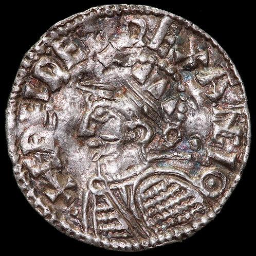 Aethelred II, 978-1016. Penny. Helmet Type. London Mint. Moneyer Aelfwine.