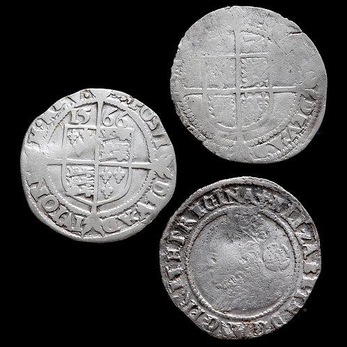 Elizabeth I, 1558-1603. Threepences, 1566, 1574, 1578. (3 Coins)