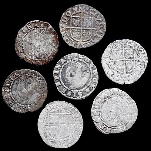 Elizabeth I, 1558-1603. Halfgroats. (7 Coins)