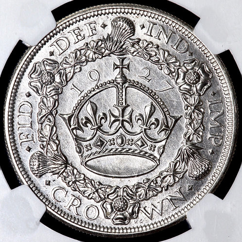 George V, 1911-36. Proof Crown, 1927. Wreath Type. NGC Encapsulated.