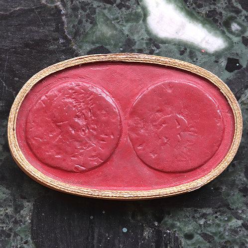 A 19th Century Grand Tour Wax Coin Impression. Ancient Roman Sestertius.