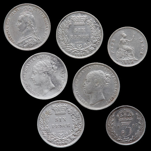 Victoria, 1837-1901. Sixpences, Fourpence And Threepence. (7 Coins)