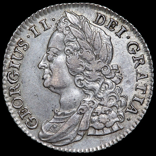 George II, 1727-60. Shilling, 1743. Roses In Angles.