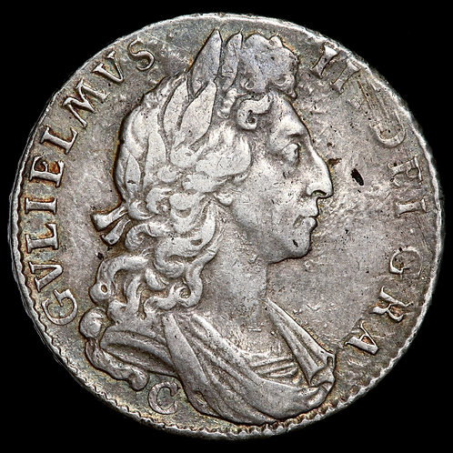 William III, 1694-1702. Halfcrown, 1697. Chester Mint. NONO Edge. Scarce.