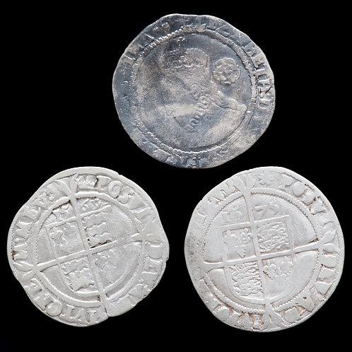 Elizabeth I, 1558-1603. Sixpences, 1569, 1575, 1578. (3 Coins)