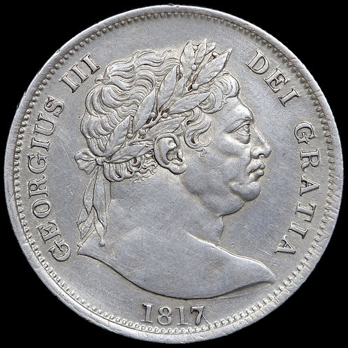 George III, 1760-1820. Halfcrown, 1817. 'Bull Head' Type.