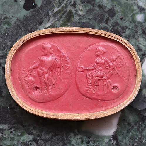 A 19th Century Grand Tour Wax Coin Impression. Ancient Greek Stater.