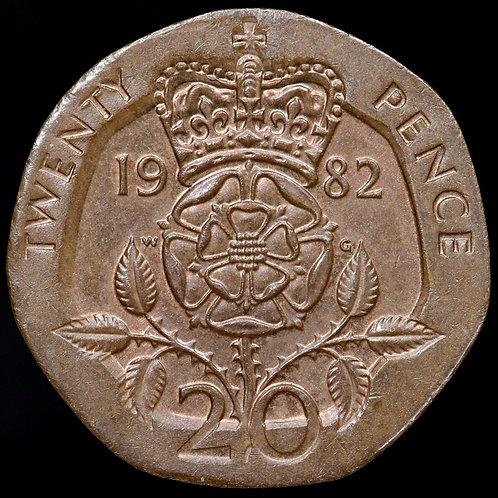 Elizabeth II. Royal Mint Error 20p, 1982. Wrong Metal / Weight. In Bronze.