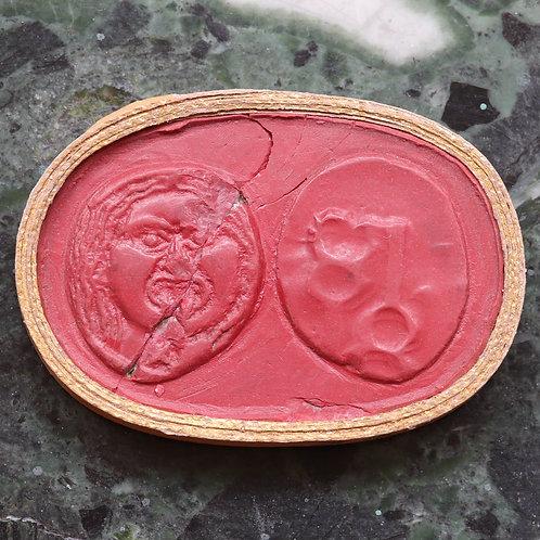 A 19th Century Grand Tour Wax Coin Impression. Ancient Greek Drachm.