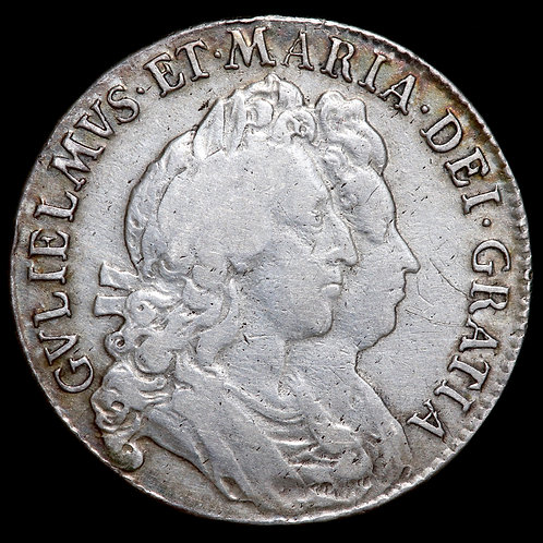 William And Mary, 1689-94. Halfcrown, 1693. 3/3. QVINTO Edge.
