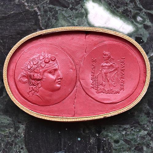 A 19th Century Grand Tour Wax Coin Impression. Ancient Greek Tetradrachm.