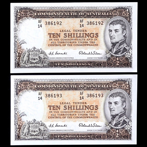 Commonwealth Of Australia. Consecutive Ten Shillings, 1954. Coombs / Wilson.