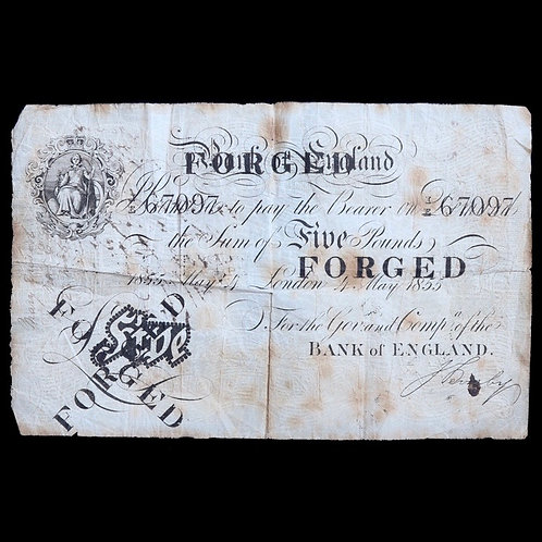 Bank Of England. Five Pounds, 4th May 1855, M. Marshall. Contemporary Forgery.