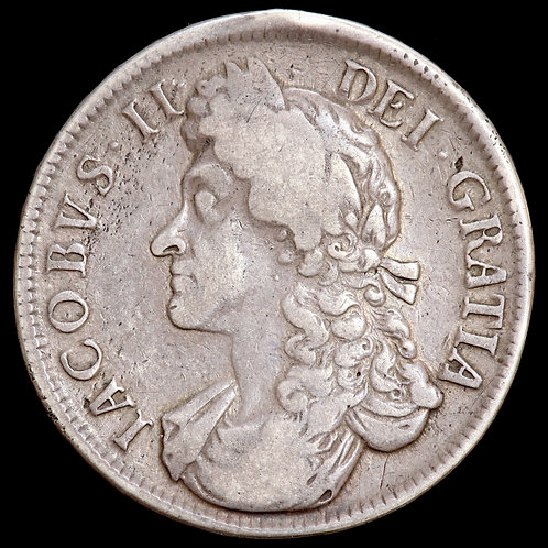 James II, 1685-88. Crown, 1687. TERTIO Edge.
