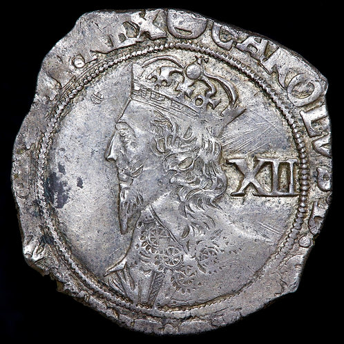 Charles I, 1625-46. Shilling, mm. Triangle In Circle, 1641-3. Tower Mint.
