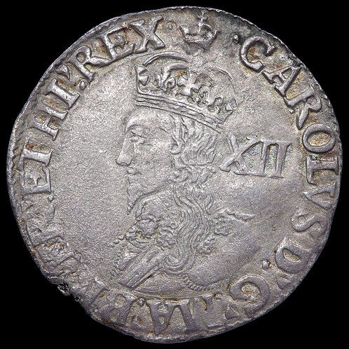 Charles I, 1625-49. Shilling, mm. Crown. Group D, Type 3a. Ex Willis Collection.