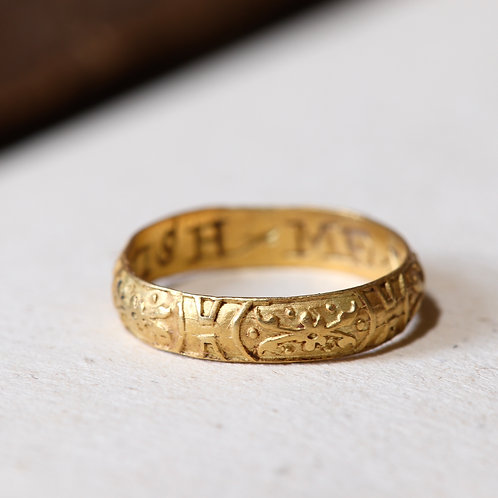 "A Tudor Or Stuart Period Gold Posy Ring, c.1580-1620. Engraved ""WISH ME WEL""."