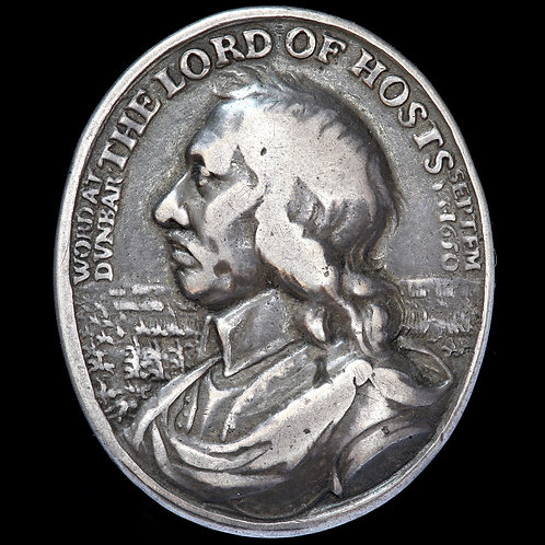 Oliver Cromwell, Battle Of Dunbar. Cast Silver Award Medal, 1650. By T Simon.