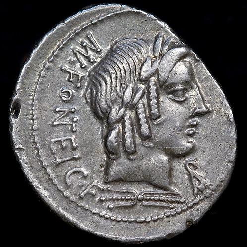 Fonteius, Silver Denarius, c.85 B.C. Cupid Riding Goat Reverse.