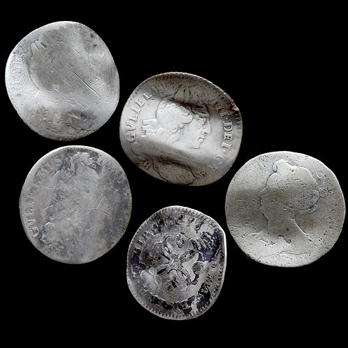 Charles II, William III and Anne. Silver Sixpence Love Tokens. (5 Coins)
