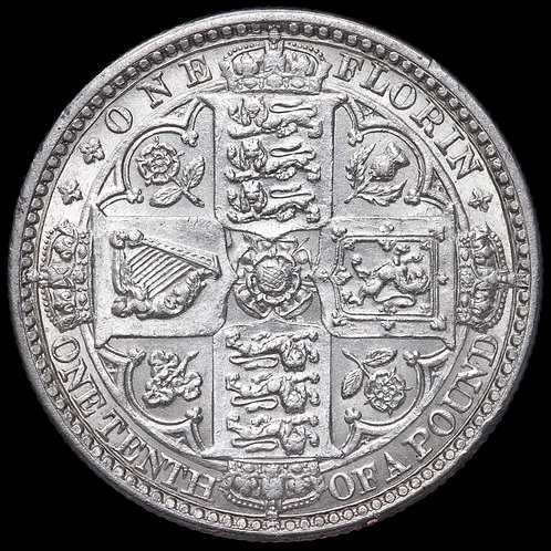 Victoria, 1837-1901. Florin, Two Shillings, 1849. WW Obliterated.